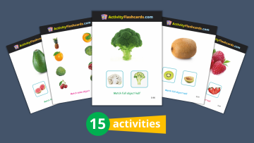 Fruits and vegetables learning flash cards for kids