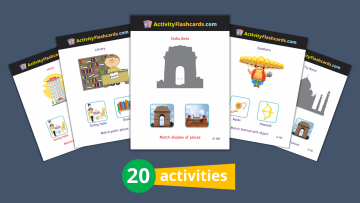 Places and Festivals flash cards for kids