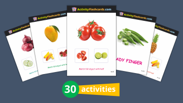 fruits and vegetables flash cards nursery