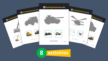 vehicles learning flash cards for kids